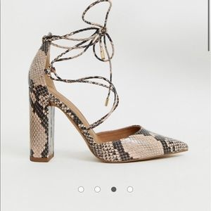 "Snake skin lace up  4"" heels"